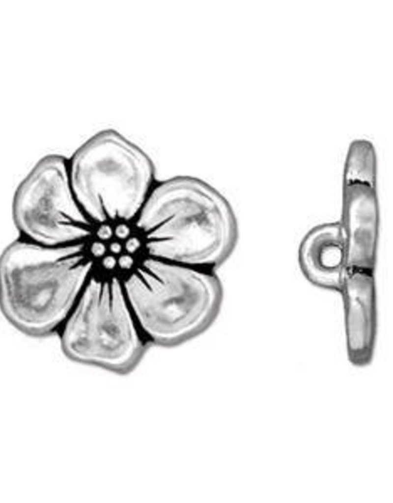 TierraCast : Button - 15.5 x 5mm, 2.2mm Loop, Apple Blossom, Antique Silver