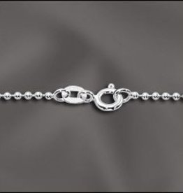"1 PC 18"" Sterling Silver 1.5mm Ball Chain w/ Springring"
