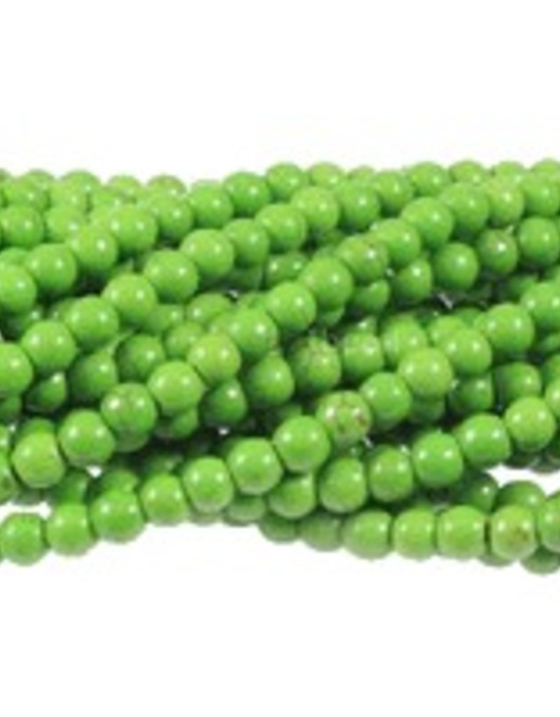 "Magnesite Dyed Green : 6mm Round 15.5"" Strand"