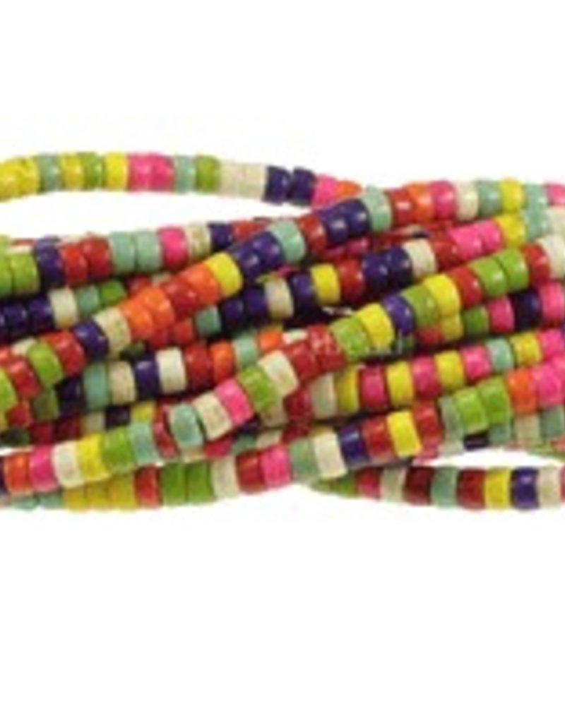 "Magnesite Dyed Multi : 4mm Heishi 15.5"" Strand"