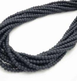 "Black Onyx Matte : 3mm Round 15.5"" Strand"