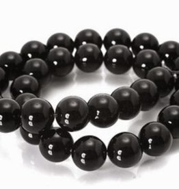 "Black Agate : 8mm Round 15.5"" Strand"