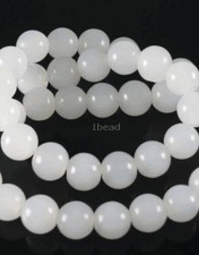 """White Quartz : 4mm Round 15.5"""" Strand"""