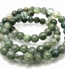 "Moss Agate: 8mm Round 15.5"" Strand"