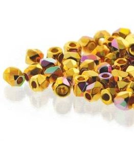 150 PC True 2mm Firepolish : Crystal 24KT Gold Plate AB