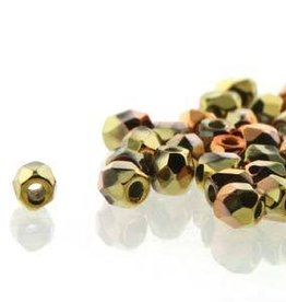 150 PC True 2mm Firepolish : Crystal CA Gold Rush
