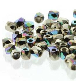 150 PC True 2mm Firepolish : Crystal Nickel Plate AB