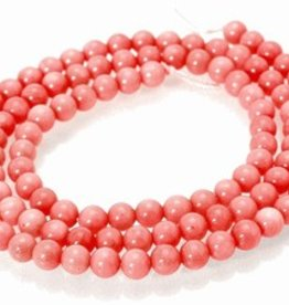 "Pink Coral : 4mm Round 15.5"" Strand"