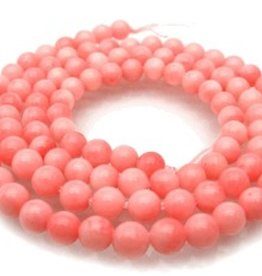 "Pink Coral : 5mm Round 15.5"" Strand"