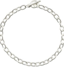 """1 PC SP 7.5"""" Oval Chain Bracelet with Toggle"""