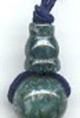 1 PC 10mm 3 Hole Moss Agate Guru/Mala Bead