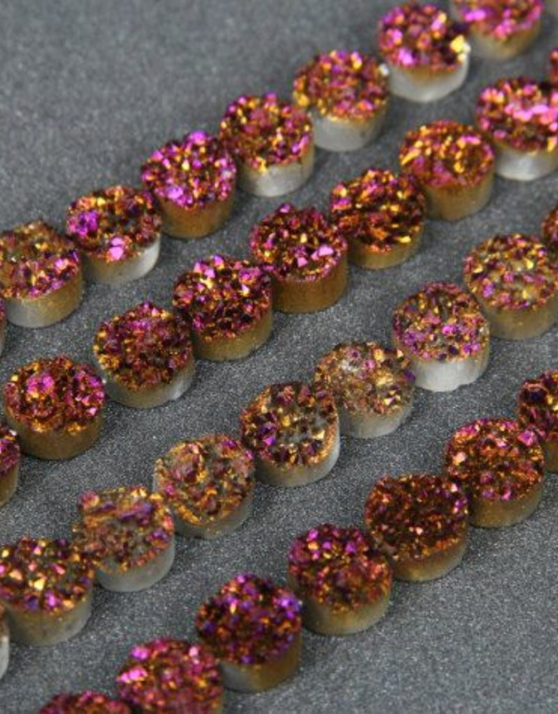 "Druzy Agate 10mm Flat Round : Purple 8"" Strand"