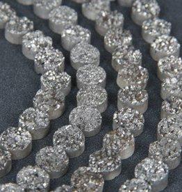 "Druzy Agate 12mm Flat Round : Silver 8"" Strand"