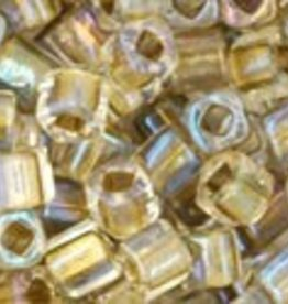 8 GM Toho Cube 3mm : Inside-Color Crystal/Gold Lined (APX 150 PCS)