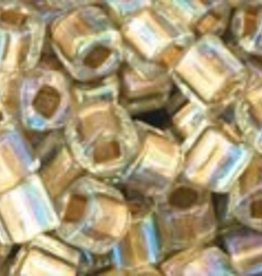 8 GM Toho Cube 3mm : Gold-Lined Rainbow Crystal (APX 150 PCS)