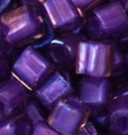 8 GM Toho Cube 4mm : Inside-Color  Rainbow Rosaline/Opaque Purple Lined (APX 75 PCS)