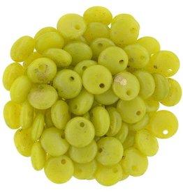 50 PC 6mm Lentil : Chartreuse Marbled Gold