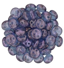 50 PC 6mm 2 Hole Lentil : Transparent Amethyst Luster
