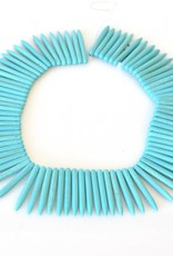 """Magnesite Dyed Turquoise : 45mm Spike 15.5"""" Strand"""