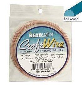 4 YD 18GA Half Round Craft Wire : Rose Gold