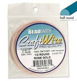 4 YD 21GA Half Round Craft Wire : Rose Gold