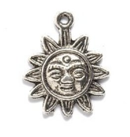 2 PC ASP 17x21mm Sun Face Charm