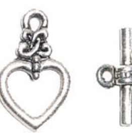 2 Set ASP 13mm Heart with Design Toggle Clasp