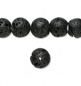 "Black Lava : 10mm Round 15.5"" Strand"