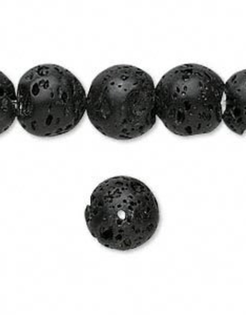 "Black Lava : 10mm Round 15.5"" Strand"