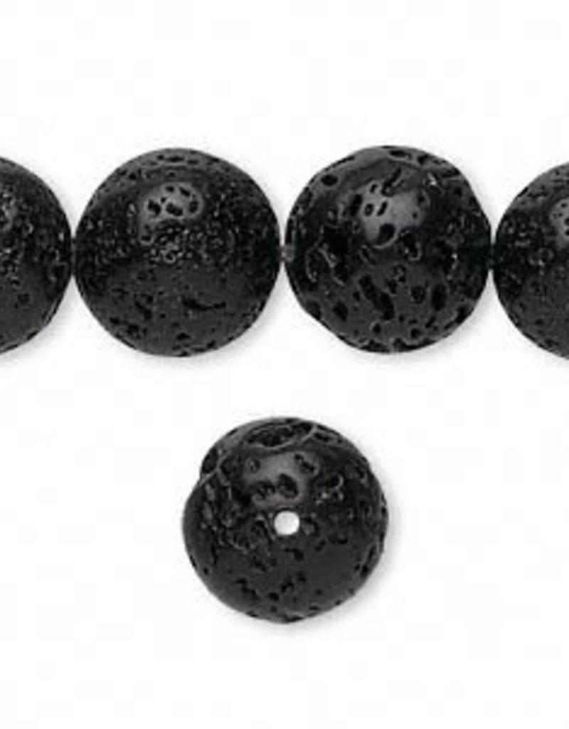 "Black Lava : 12mm Round 15.5"" Strand"