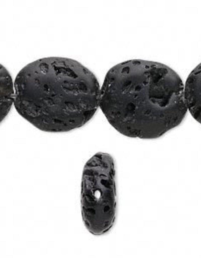 "Black Lava : 13x15mm Oval 15.5"" Strand"