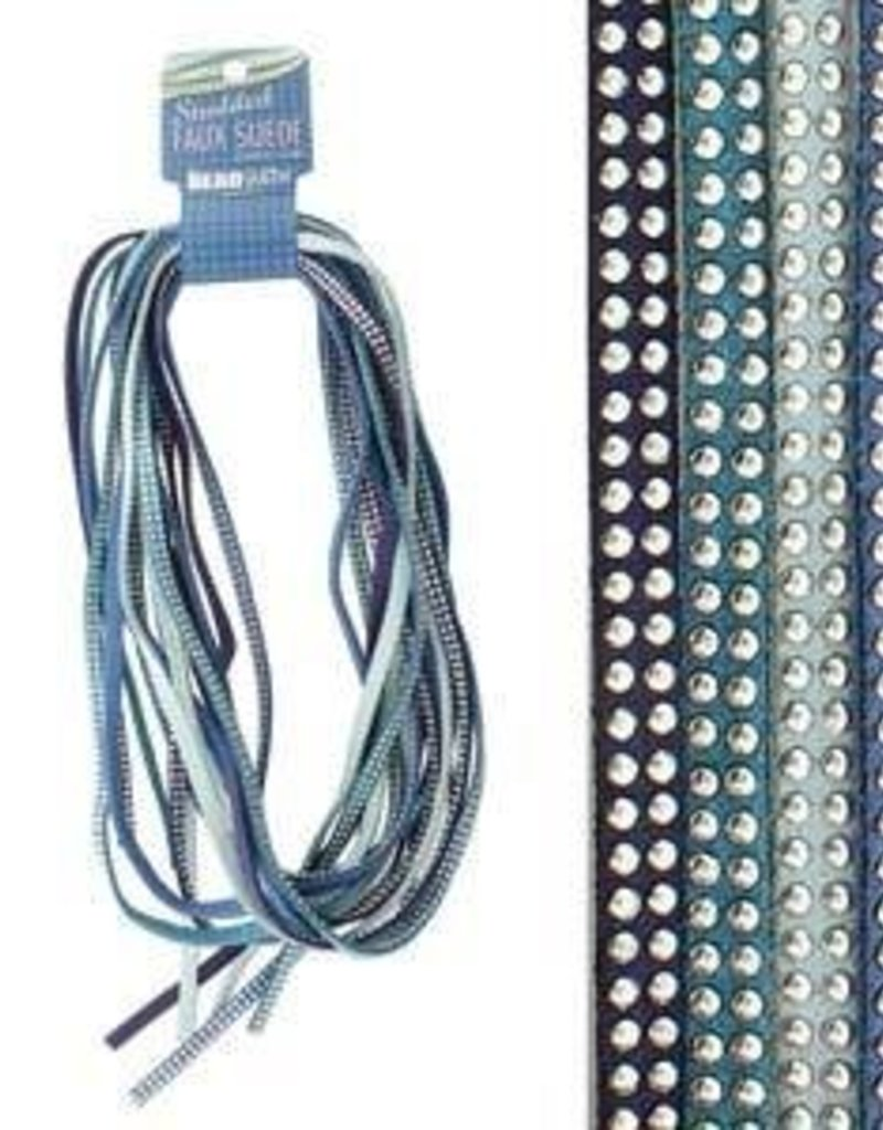 8 Meters 5mm Studded Faux Suede : Blues Mix