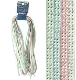 8 Meters 5mm Studded Faux Suede : Lights Mix