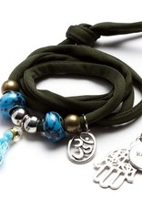 11pc Green Karma Wrapped Cord with Metal and Acrylic Beads and Charms