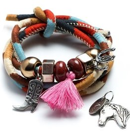 11pc Red Country Corded Wrap with Metal & Acrylic Beads and Charms