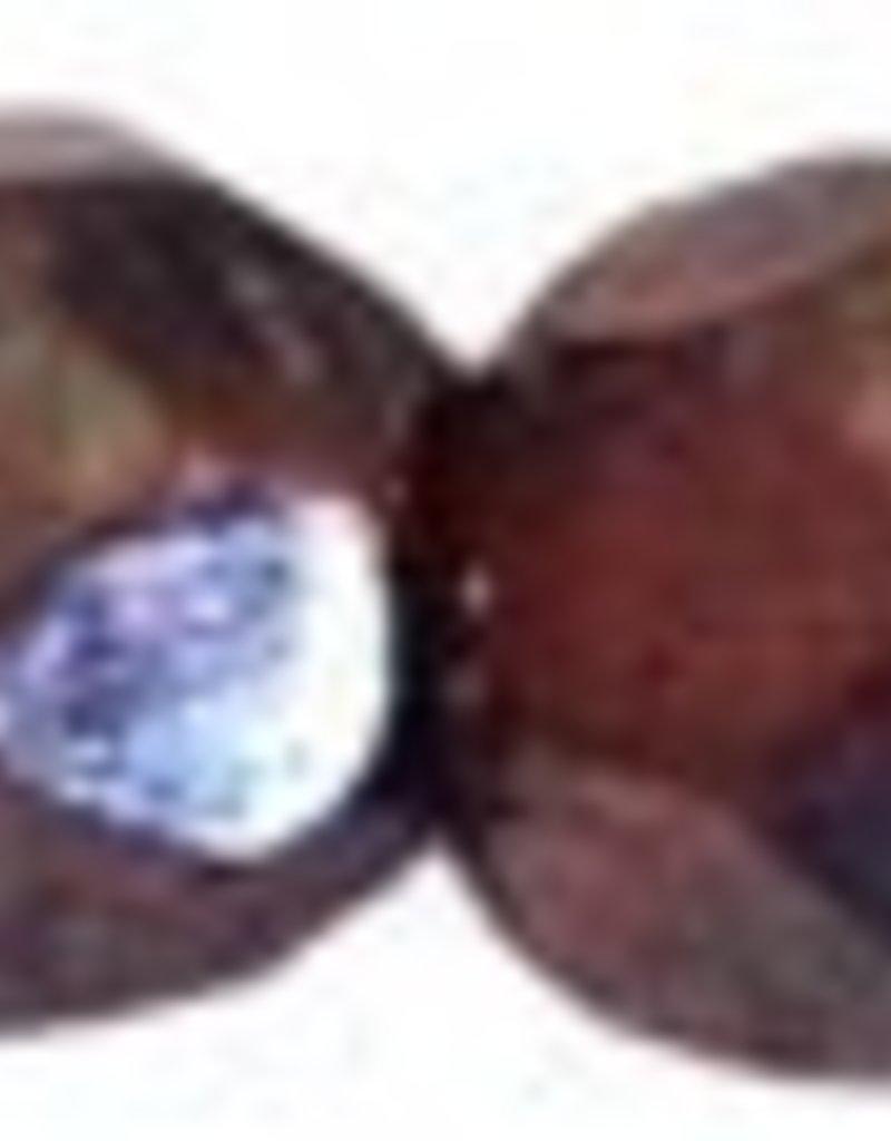 50 PC Firepolish 4mm : Hematite Luster - Garnet