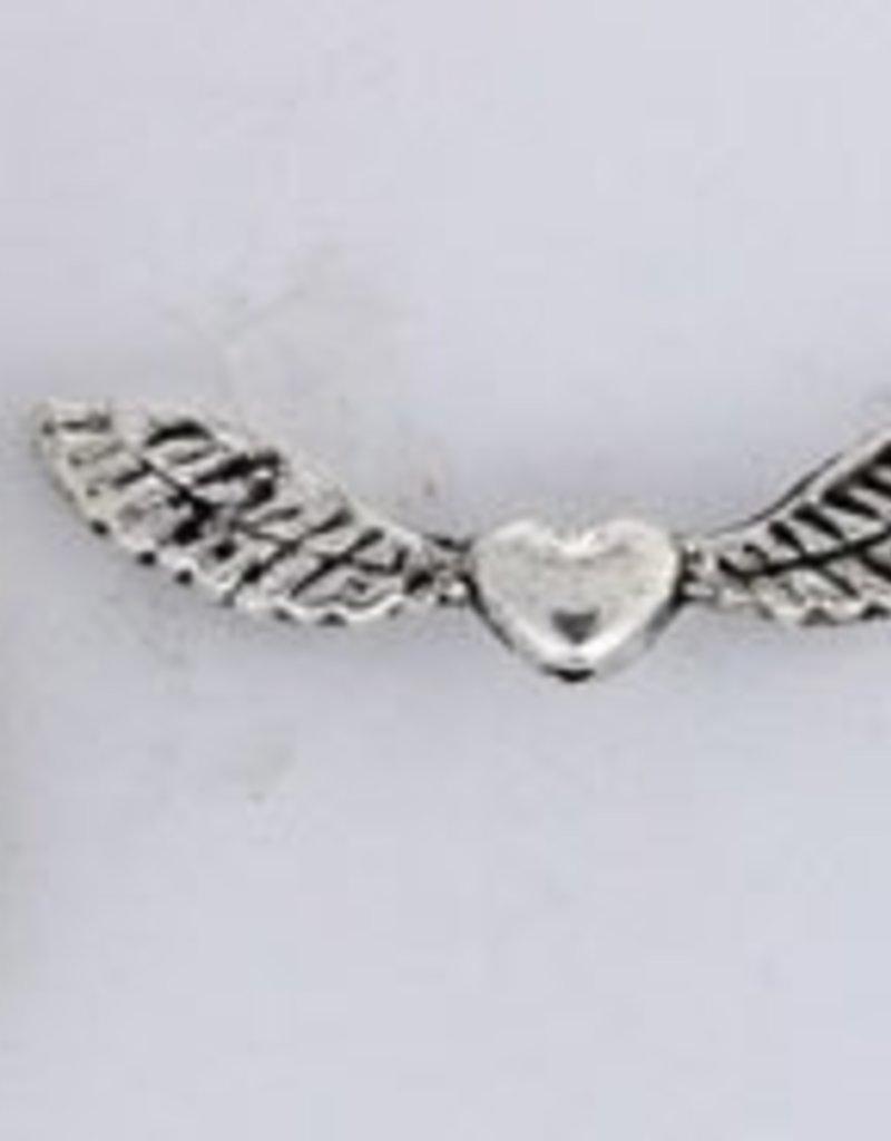 6 PC ASP Lg Heart Wing Bead