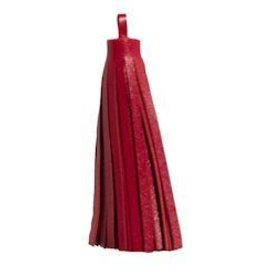 "1 PC 3"" Large Nappa Leather Tassel : Red"