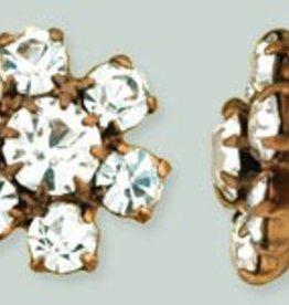 1 PC 12mm Rhinestone Button - Flower Round : Antique Copper - Crystal