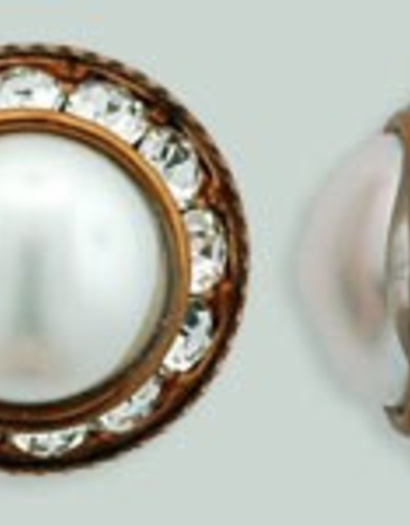 1 PC 16mm Rhinestone Button - Round : Antique Copper - Pearl/Crystal