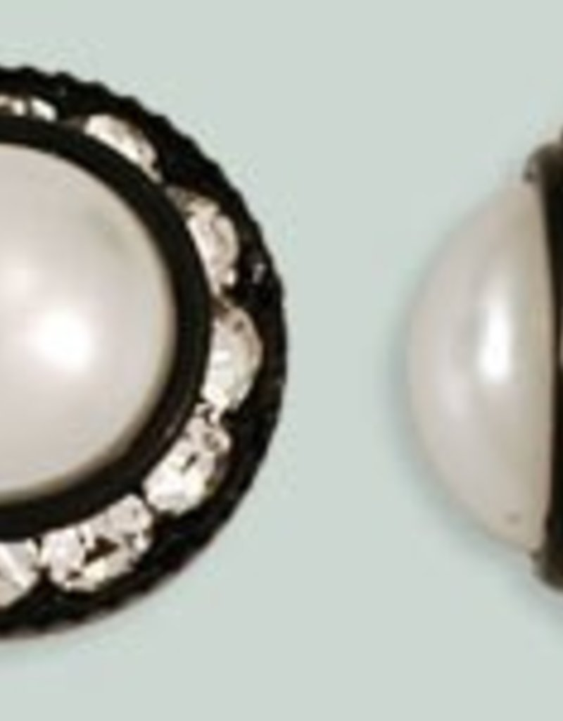 1 PC 16mm Rhinestone Button - Round : Black - Pearl/Crystal