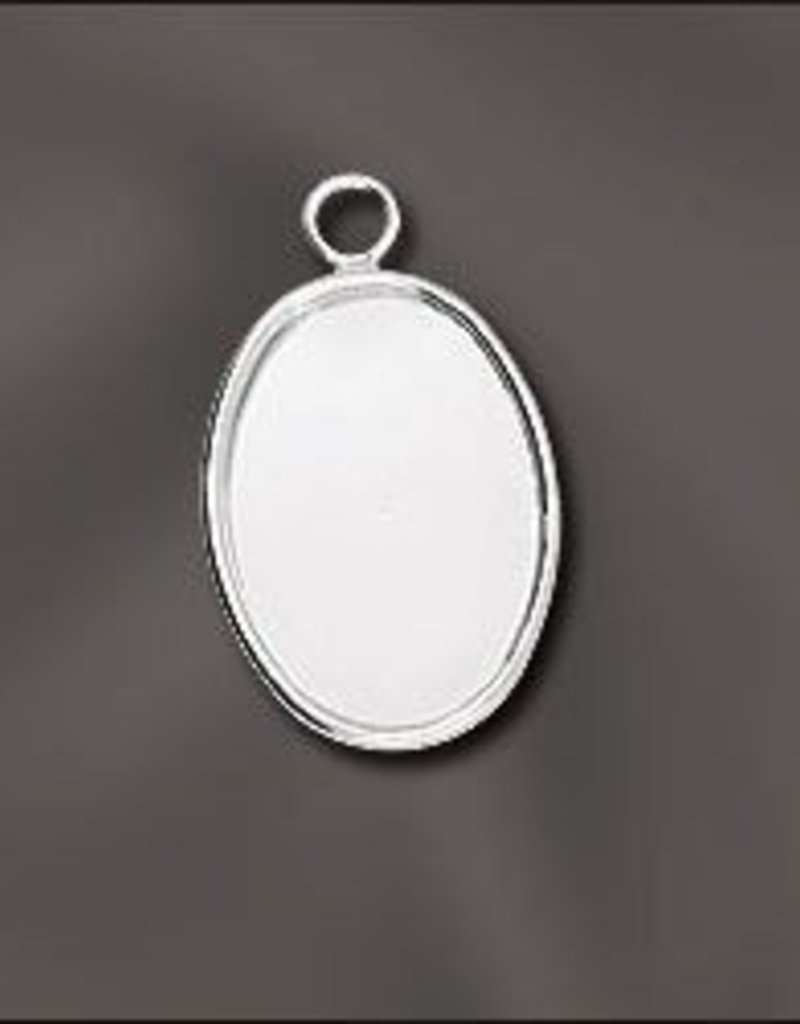 1 PC SP 18x13mm Oval Bezel Setting Pendant