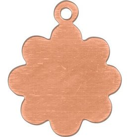 1 PC 24GA 16x13mm Solid Copper Flower Blank With Loop