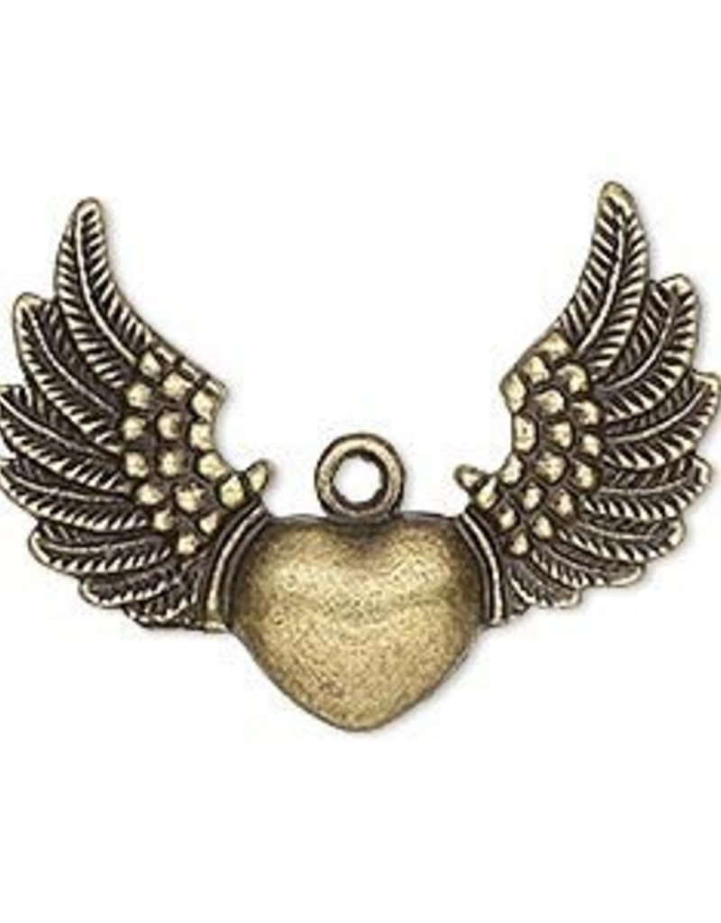1 PC ABP 35x26mm Heart with Wings Charm