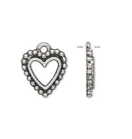 2 PC ASP 15x14mm Open Heart Charm