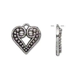 2 PC ASP 17x15mm Beaded Heart Charm