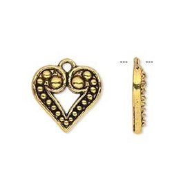 2 PC AGP 17x15mm Beaded Heart Charm