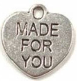 """2 PC ASP 16x15mm """"Made For You"""" Heart Charm"""