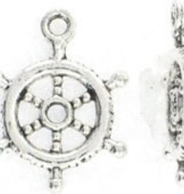 2 PC ASP 20x15mm Ship Wheel Charm
