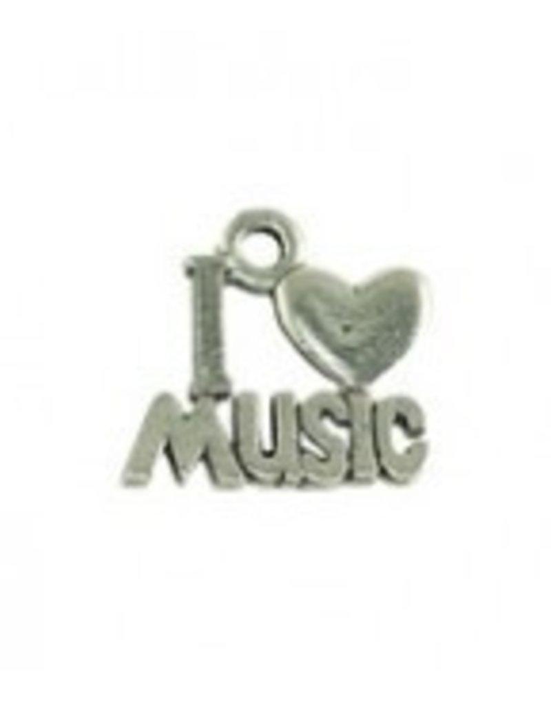 "1 PC ASP 16x15mm ""I Love Music"" Charm"